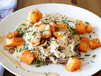 Chilli Roasted Butternut Squash with Soba Noodles and a Creamy Miso- Tahini Sauce
