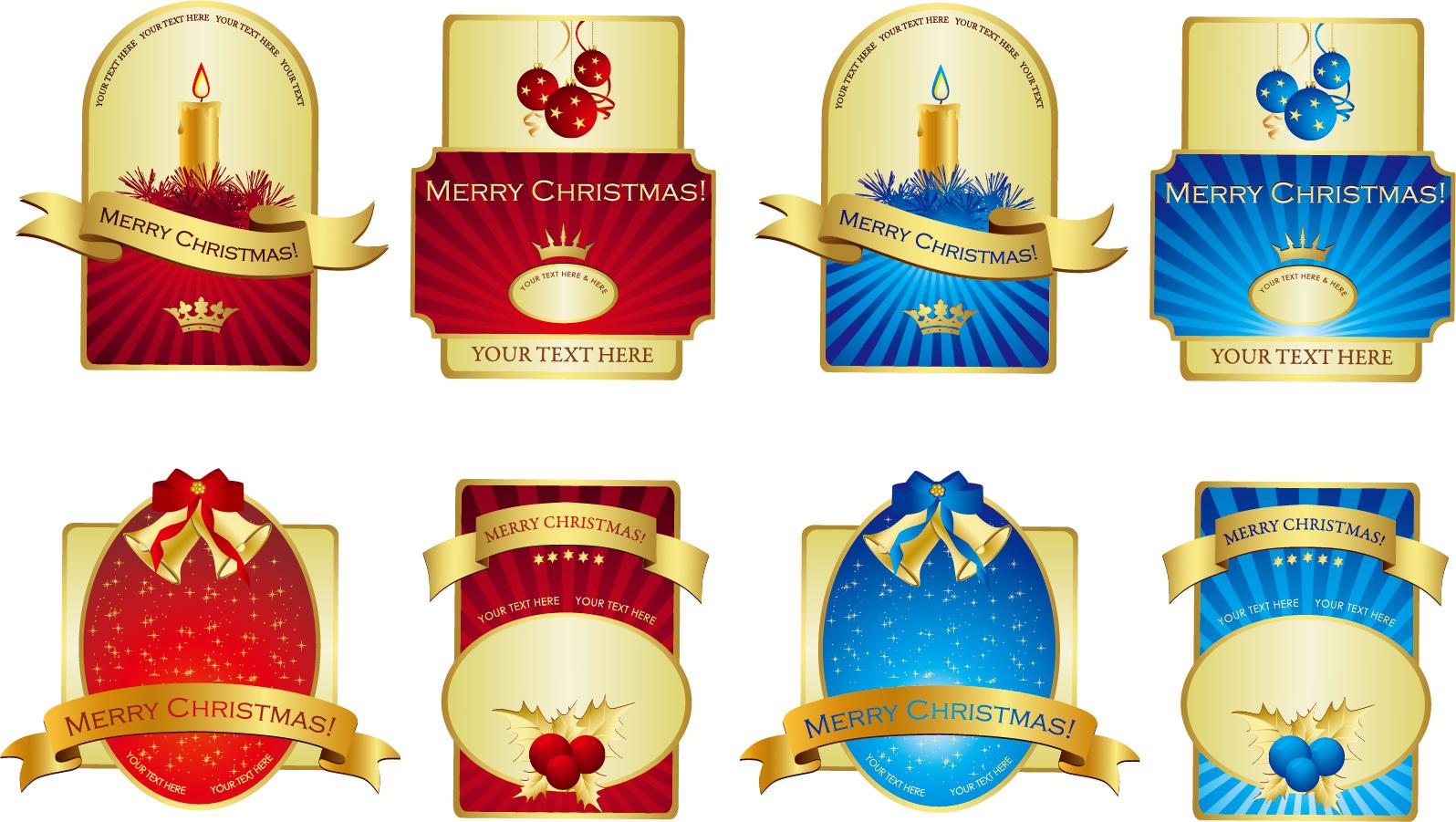 金のリボン飾りが豪華なラベル デザイン gold ribbon shield bottle stickers イラスト素材2