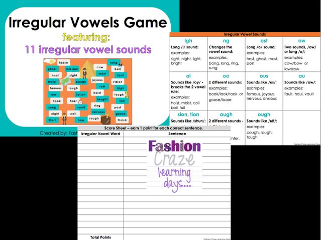 irregular vowel practice for 3-5