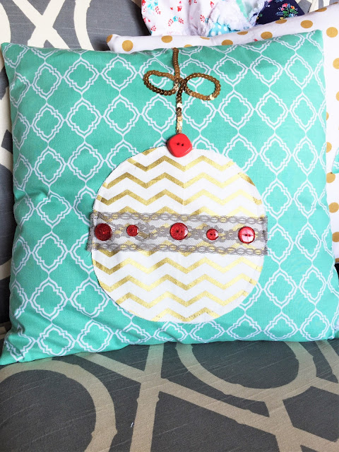 Free Motion Applique Ornament Pillow Sham