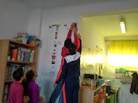 los alumnos colocan la línea del tiempo en la pared