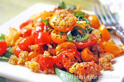 baked tomatoes and cornbread crumbs