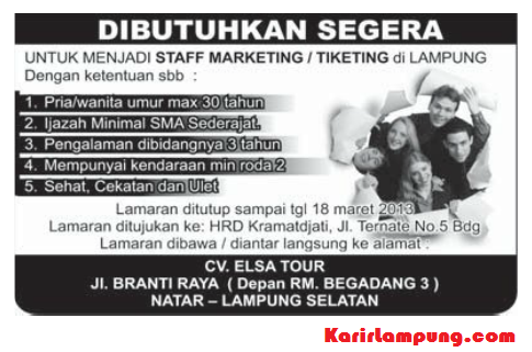 Lowongan Staff Marketing / Ticketing CV. Elsa Tour, Natar, Lampung Selatan