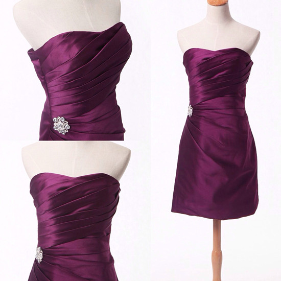 Satin Strapless Plum Short Bridesmaid Dress