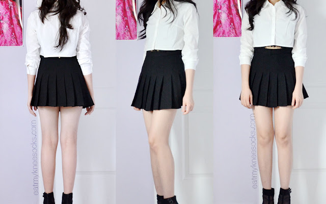 Front, side, and back views of the cropped white collared shirt and black pleated tennis skirt from SheInside, aka SheIn.