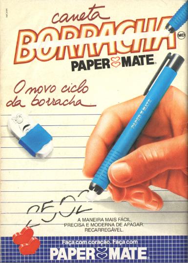 Propaganda de 1998 da Caneta Borracha da Papermate.