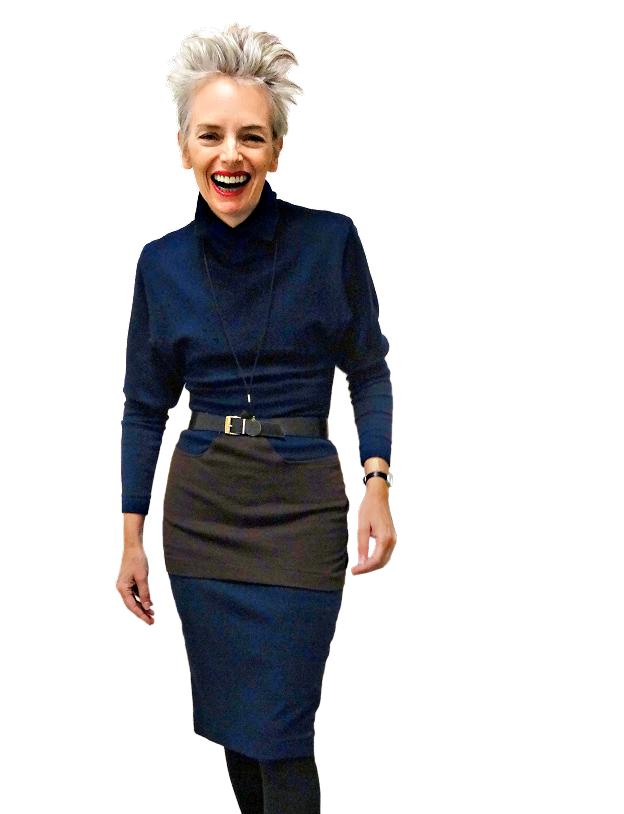 Mel Kobayashi in Alaia Paris vintage dress, Bag and a Beret
