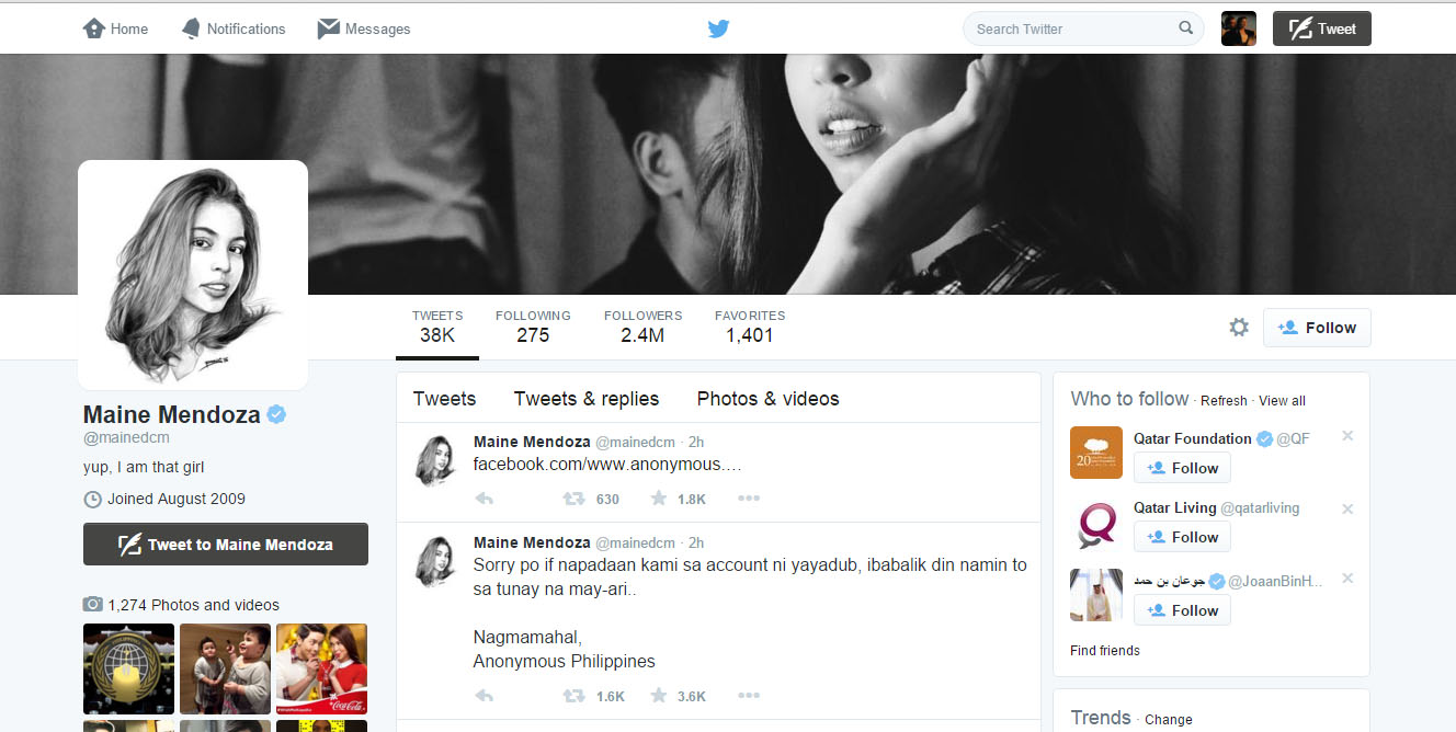 Hackers take over Maine Mendoza official Twitter