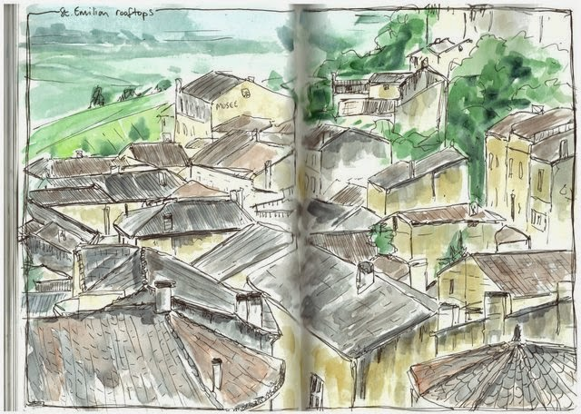 St Emilion rooftops pen and watercolour
