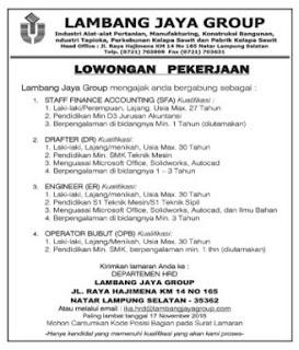 Lowongan Kerja LAMBANG JAYA GROUP November 2015 Terbaru Di Lampung, Lowongan Kerja SMA/ SMK LAMBANG JAYA GROUP November 2015 Terbaru, Lowongan Kerja D3 LAMBANG JAYA GROUP November 2015 Terbaru, Lowongan Kerja D1 LAMBANG JAYA GROUP November 2015 Terbaru, Lowongan Kerja S1/ Sarjana LAMBANG JAYA GROUP November 2015 Terbaru, Lowongan Kerja Administrasi LAMBANG JAYA GROUP November 2015 Terbaru, Lowongan Kerja Accounting LAMBANG JAYA GROUP November 2015 Terbaru, Lowongan Kerja Driver/ Sopir LAMBANG JAYA GROUP November 2015 Terbaru, Lowongan Kerja Satpam/ Scurity LAMBANG JAYA GROUP November 2015 Terbaru, Lowongan Kerja Staff LAMBANG JAYA GROUP November 2015 Terbaru, Lowongan Kerja CS/ Costumer Service di LAMBANG JAYA GROUP November 2015 Terbaru, Lowongan Kerja IT di LAMBANG JAYA GROUP November 2015 Terbaru, Karir Lampung di LAMBANG JAYA GROUP November 2015 Terbaru, Alamat Lengkap LAMBANG JAYA GROUP November 2015 Terbaru, Struktur Organisasi LAMBANG JAYA GROUP November 2015 Terbaru, Email LAMBANG JAYA GROUP November 2015, No Telepon LAMBANG JAYA GROUP November 2015 Website/ Situs Resmi LAMBANG JAYA GROUP November 2015 Terbaru, Gaji Standar UMR di LAMBANG JAYA GROUP November 2015 Terbaru, Daftar Cabang Perusahaan LAMBANG JAYA GROUP November 2015 Terbaru, Lowongan Kerja Penipuan LAMBANG JAYA GROUP November 2015 Terbaru, Lowongan Kerja LAMBANG JAYA GROUP November 2015 Terbaru di Bandar Lampung, Lowongan Kerja LAMBANG JAYA GROUP November 2015 Terbaru di Metro, Lowongan Kerja LAMBANG JAYA GROUP November 2015 Terbaru di Bandar Jaya, Lowongan Kerja LAMBANG JAYA GROUP November 2015 Terbaru di Liwa, Lowongan Kerja LAMBANG JAYA GROUP November 2015 Terbaru di Kalianda, Lowongan Kerja LAMBANG JAYA GROUP November 2015 Terbaru di Tulang Bawang, Lowongan Kerja LAMBANG JAYA GROUP November 2015 Terbaru di Pringsewu, Lowongan Kerja LAMBANG JAYA GROUP November 2015 Terbaru di Kota bumi, Lowongan Kerja LAMBANG JAYA GROUP November 2015 Terbaru di Krui, Lowongan Kerja LAMBANG JAYA GROUP November