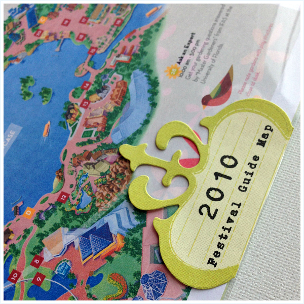 Die-cut attached to outside of page protector - Disney inspired memory keeping | www.anyhappylittlethoughts.com