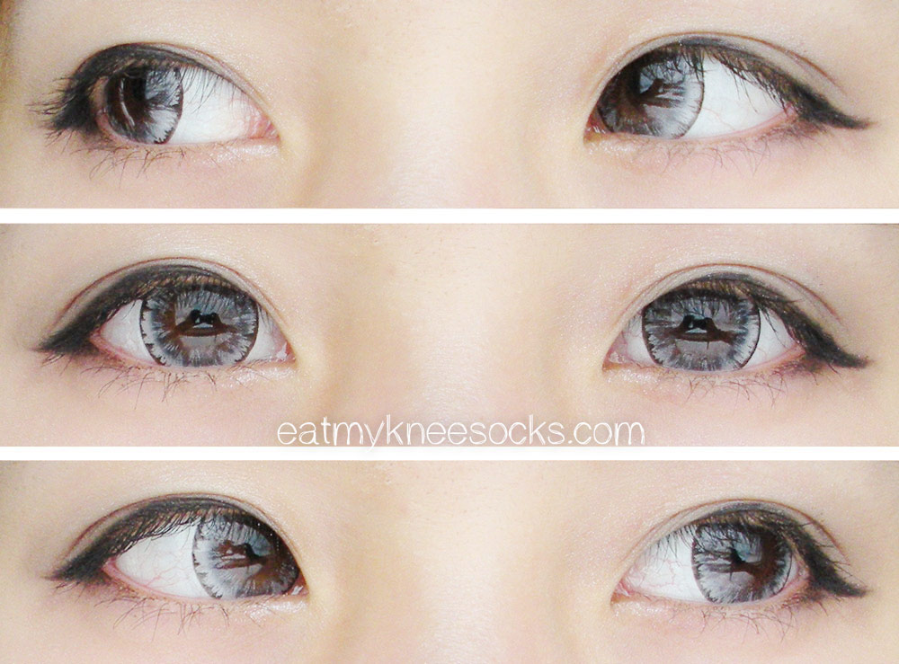 The EOS Ice Gray circle lenses from PinkyParadise appear as an icy light gray in broad daylight, giving off a cute, ulzzang effect.