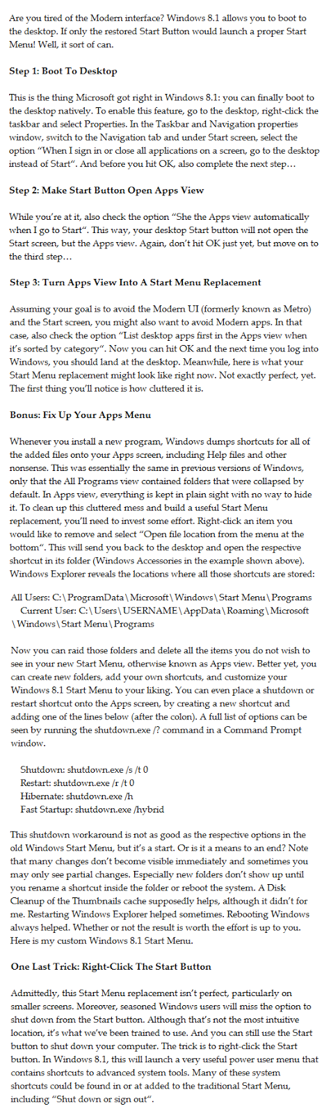 How to get normal start menu in windows 8 and Windows 8.1