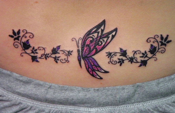 Lower Back Butterfly Tattoo Design