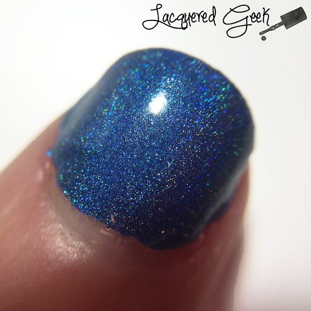 Colors by Llarowe That Bloo is Mine! nail polish swatch macro by Lacquered Geek