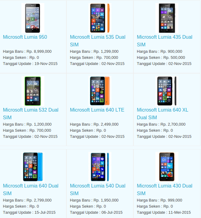 Daftar Harga Hp Microsoft November 2015