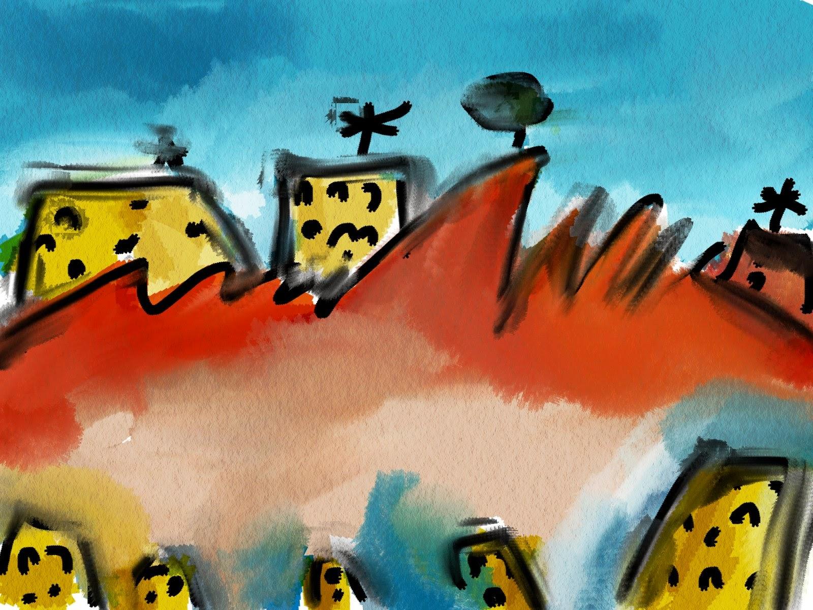 Esboço para simulação de alguns efeitos da técnica da aquarela realizados no Gimp.