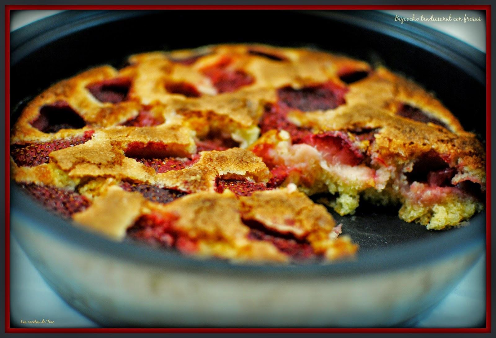 bizcocho tradicional con fresas tererecetas 07