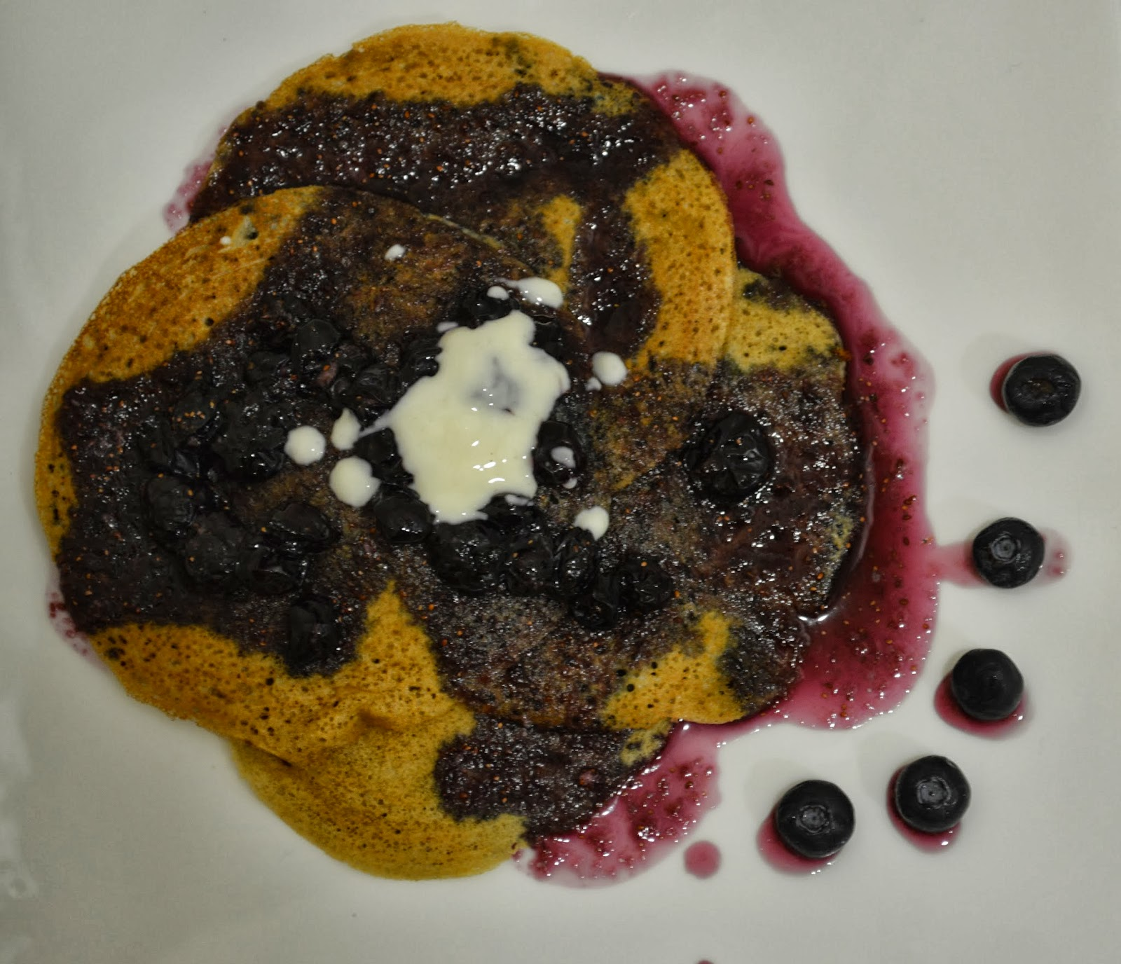 Egg less Pancakes with Blue berry Syrup