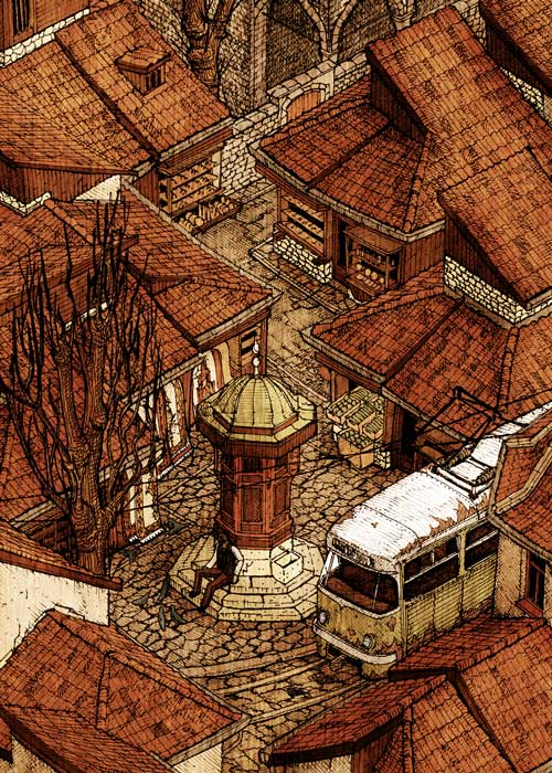 02-Baščaršija-Evan-Wakelin-Architectural-Drawings-in-Isometric-Projection-www-designstack-co