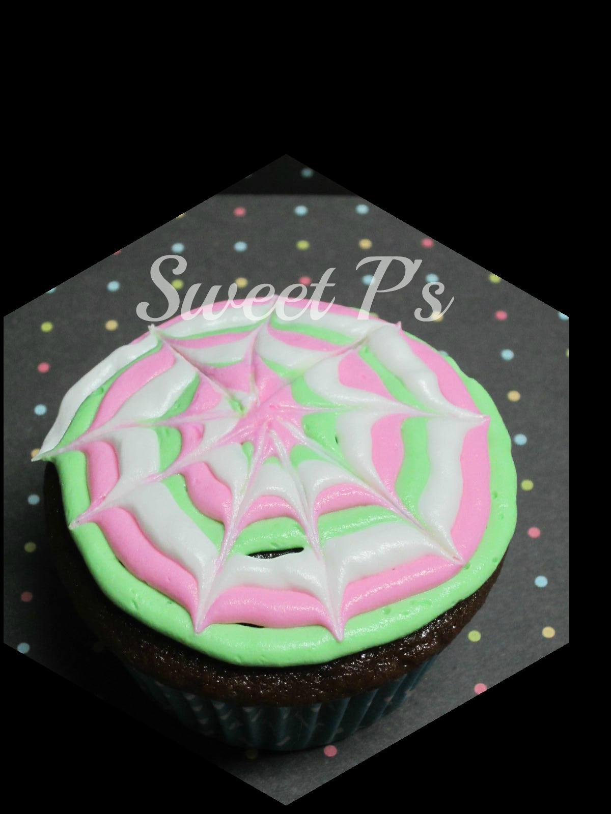 spiral web cupcake