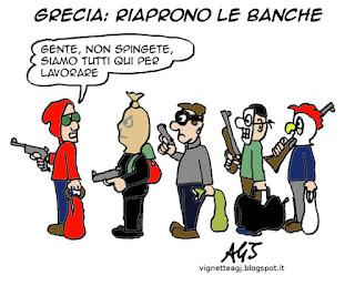 grecia, banche, satira, vignetta
