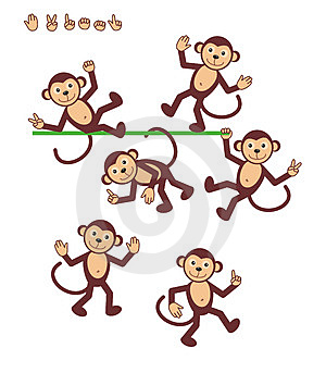 7 monkeys cartoon drawings of people