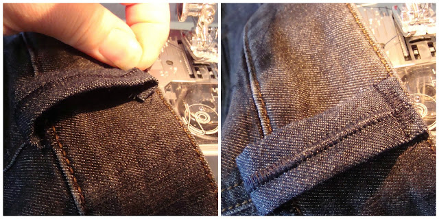 Fold under and sew remaining edge of belt loop to top of waistband