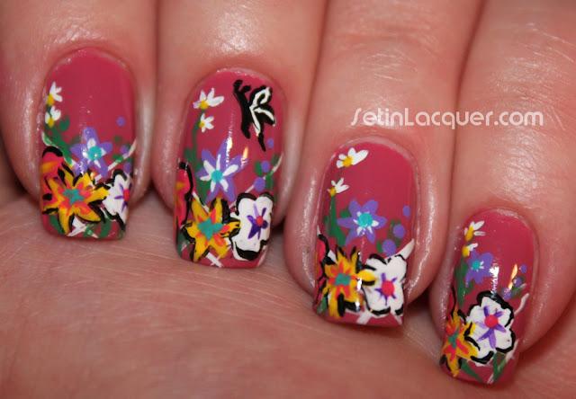 Flower garden nail art