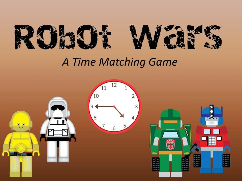 http://www.teacherspayteachers.com/Product/Robot-Wars-A-Time-Matching-Game-1194962