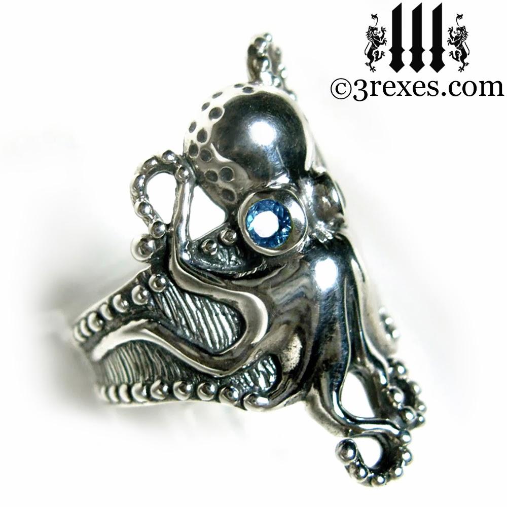 silver octopus ring blue topaz eyes