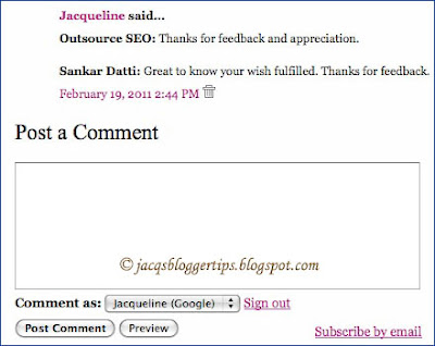 Screen shot of a section of the embedded comment form with the comment box below the last comment