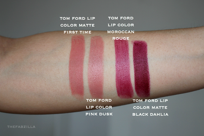 tom ford lip color matte first time, tom ford lip color moroccan rouge, review, swatch, tom ford casablanca, tom ford negligee,tom ford twist of fate