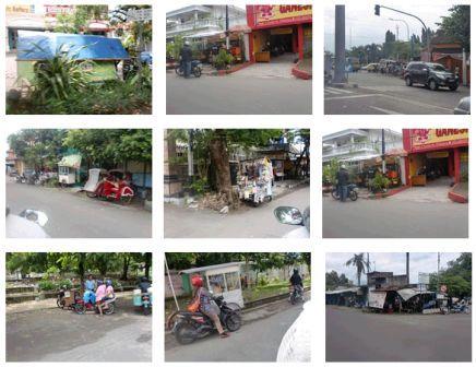 Beberapa PKL berjualan di tepi jalan di Solo