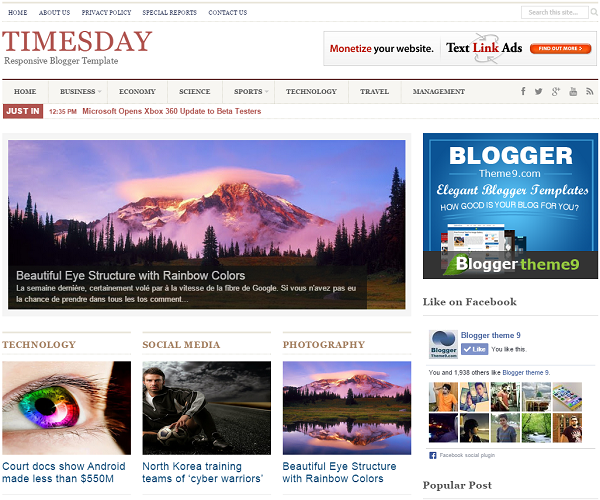Times Day - Responsive Blogger Template