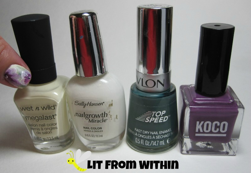 Bottle shot:  Wet 'n Wild LAC-My Mani, Sally Hansen White Tip, Revlon Essence, and Koco Mountain Of Youth
