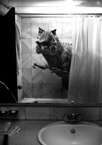 Dinosaur in the Shower