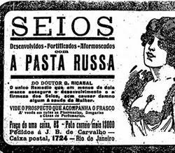 Propaganda do Remédio Pasta Russa com promessa de aumento dos seios em 1918.