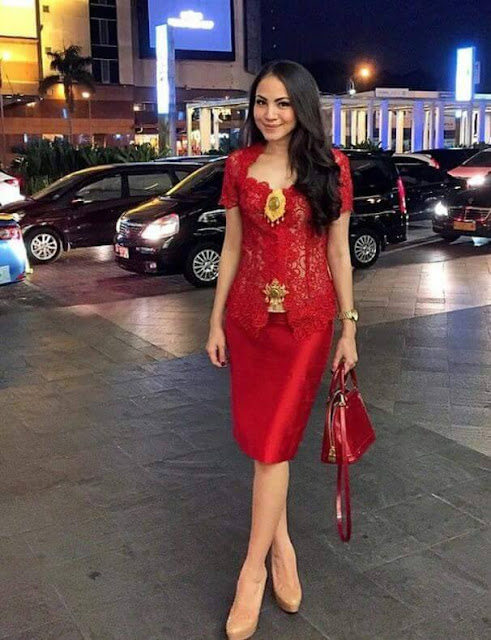 kebaya merah cantik dress broklat