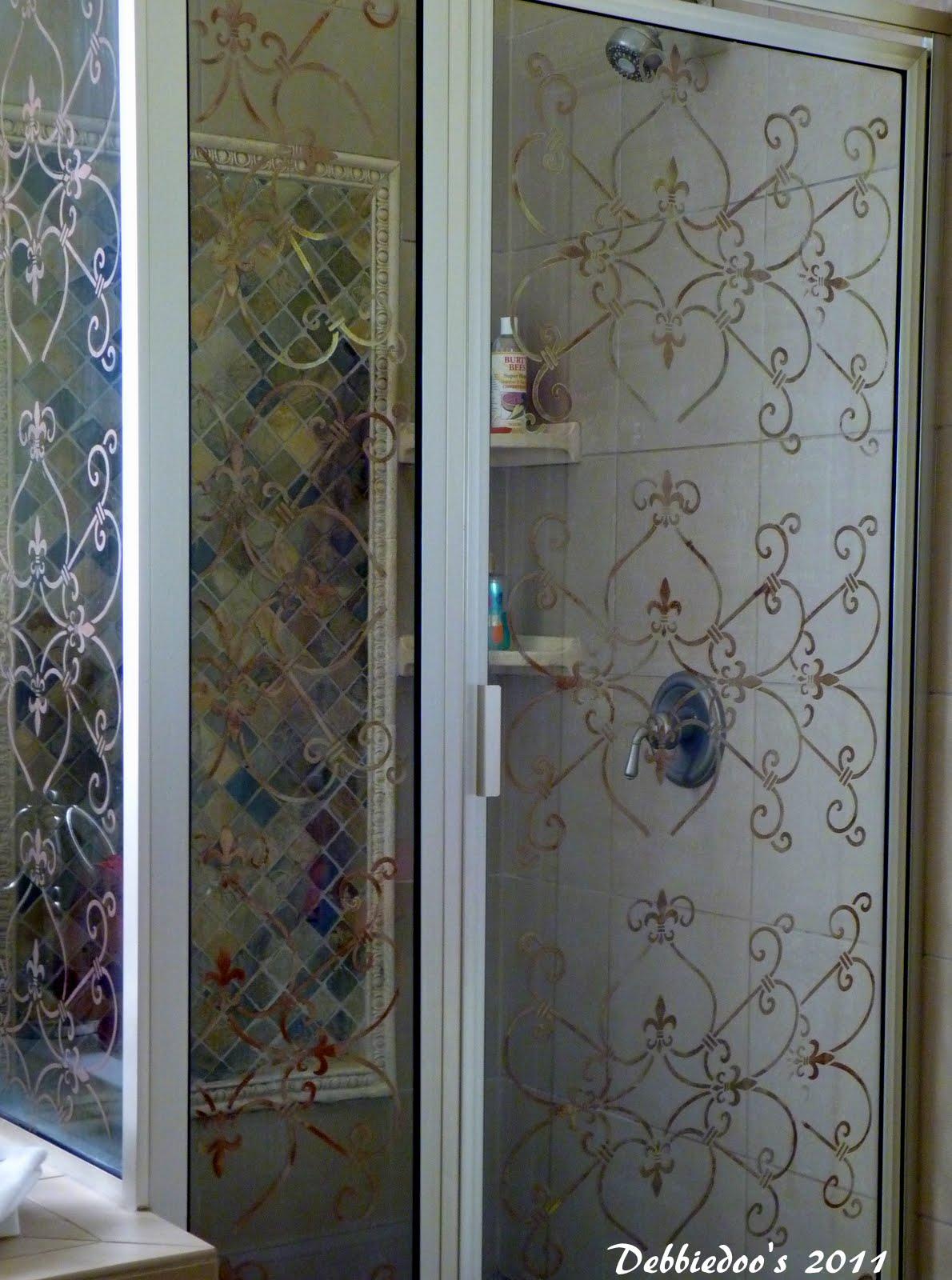 stencil on a shower door {diy} - debbiedoos