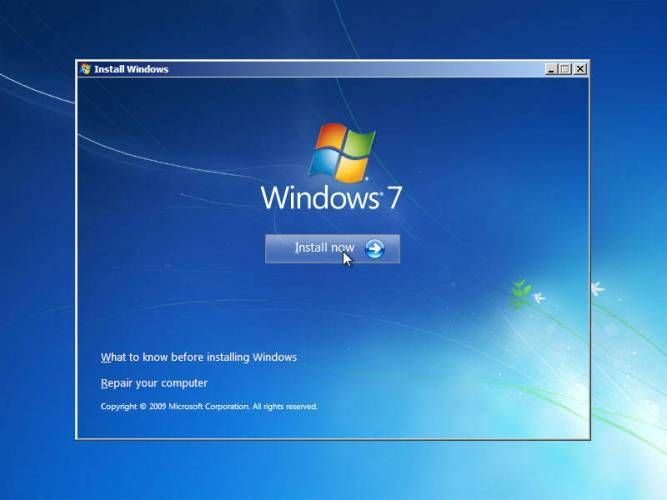 mulai install windows 7