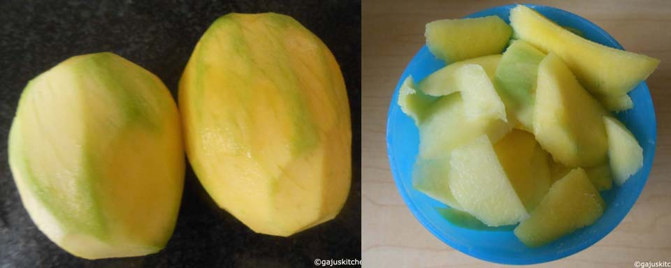 sliced raw mango