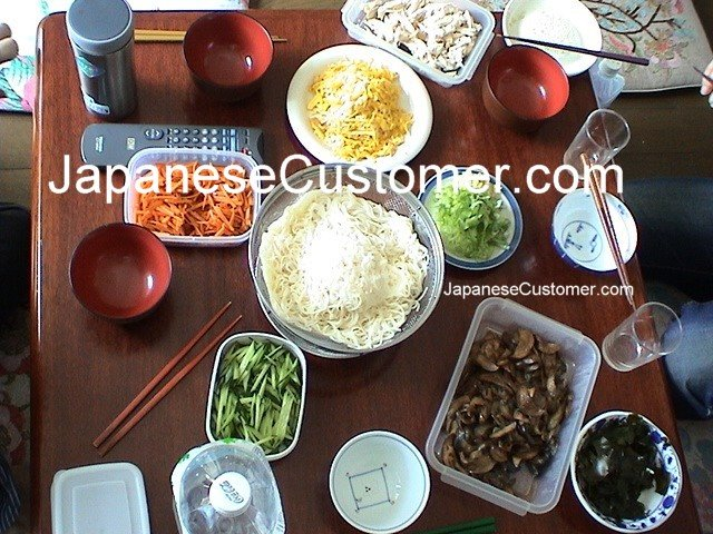 Saturday afternoon somen noodle lunch Copyright Peter Hanami 2014