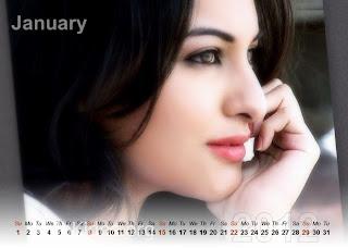 Sonakshi Sinha Calendar 2012   Download 2012 Calendar Sonakshi Sinha
