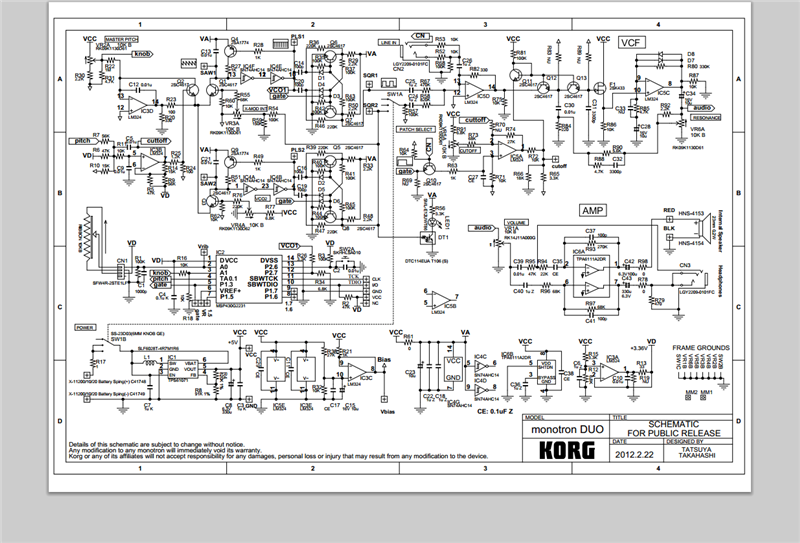 tubes and transistors korg s schematic for the monotron duo