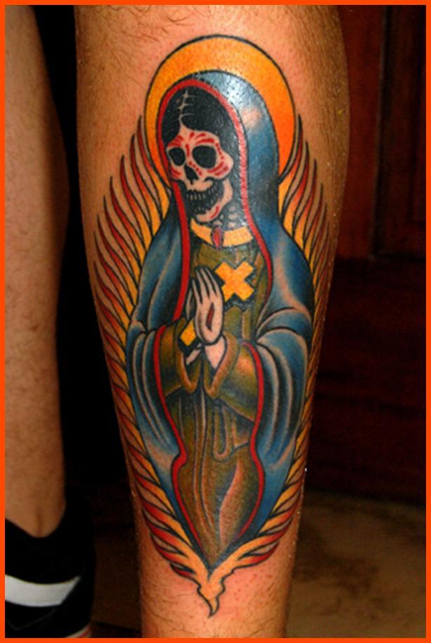 tatuaje de la santa muerte en estilo tradicional americano