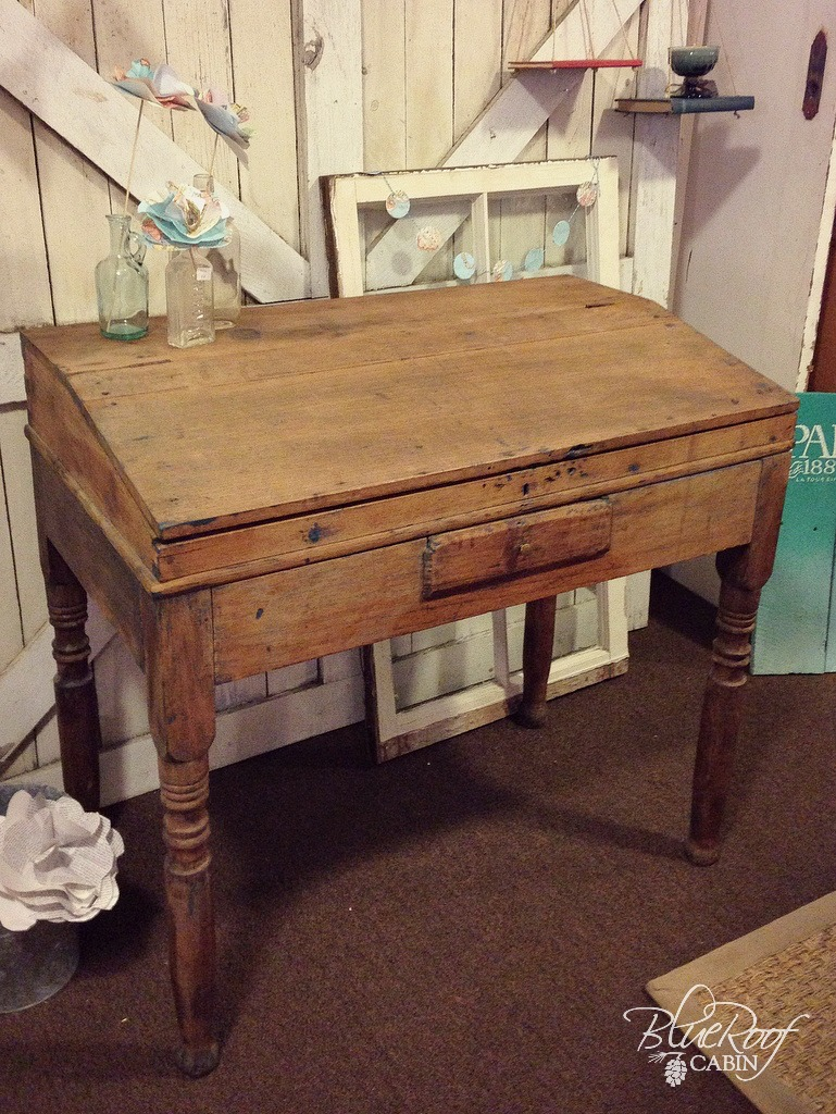 Antique Writing Desk ~ Blue roof cabin antique writing desk that i m in love with