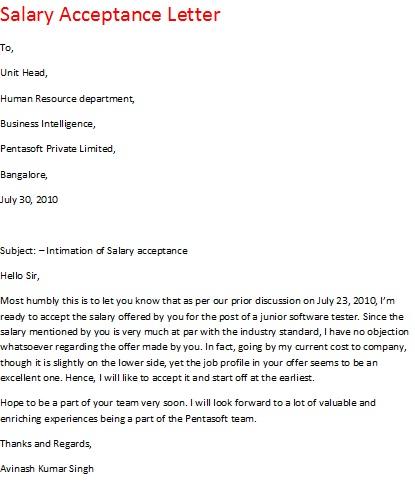 acceptance letter for job offer