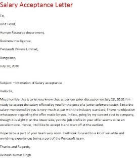 salary acceptance letter, salary acceptance email, salary acceptance sample