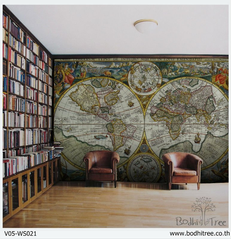 Decoraci n f cil papel pintado de mapamundis for Papel pintado mapamundi